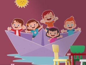 Μωβ καραβάκι Παιδικά Αυτοκόλλητα τοίχου 52 x 55 cm