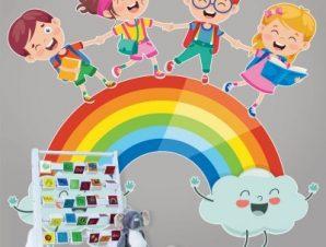 Διαβάζουμε στο ουράνιο τόξο Παιδικά Αυτοκόλλητα τοίχου 55 x 55 cm