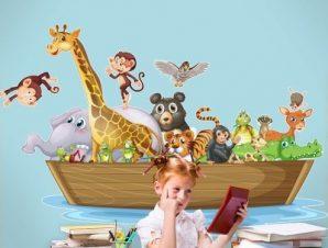Κιβωτός του Νώε στη θάλασσα Παιδικά Αυτοκόλλητα τοίχου 46 x 70 cm