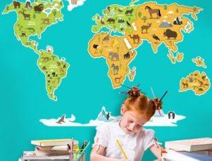 Χάρτης του κόσμου Παιδικά Αυτοκόλλητα τοίχου 63 x 100 cm