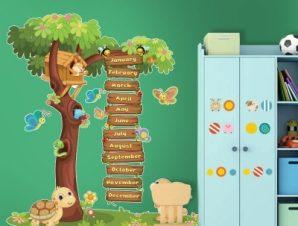 Μήνες του χρόνου Παιδικά Αυτοκόλλητα τοίχου 74 x 65 cm