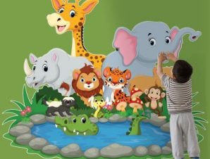 Ζωάκια στη λίμνη Παιδικά Αυτοκόλλητα τοίχου 58 x 70 cm