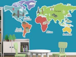 Οι 5 ήπειροι Παιδικά Αυτοκόλλητα τοίχου 35 x 70 cm