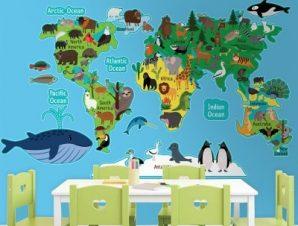 Ο χάρτης των ζώων Παιδικά Αυτοκόλλητα τοίχου 61 x 100 cm