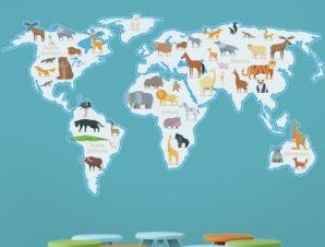 Χάρτης με ζώα Παιδικά Αυτοκόλλητα τοίχου 56 x 100 cm