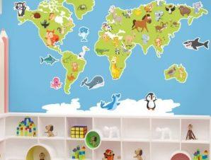 Χάρτης του κόσμου με ζώα Παιδικά Αυτοκόλλητα τοίχου 66 x 100 cm