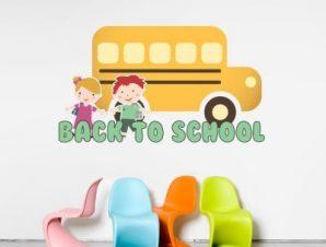 Σχολικό λεωφορείο Παιδικά Αυτοκόλλητα τοίχου 34 x 60 cm