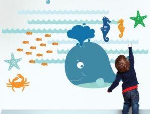 Φάλαινα μικρή Παιδικά Αυτοκόλλητα τοίχου 84 x 120 cm