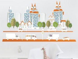 Πόλη με μεγάλα κτίρια Παιδικά Αυτοκόλλητα τοίχου 67 x 120 cm