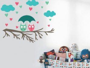 Κουκουβάγιες Παιδικά Αυτοκόλλητα τοίχου 75 x 80 cm