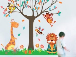 Ζώα κάτω από το δέντρο Παιδικά Αυτοκόλλητα τοίχου 151 x 151 cm