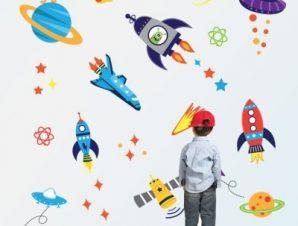 Γη και διαστημόπλοια Παιδικά Αυτοκόλλητα τοίχου Small 93×90 cm