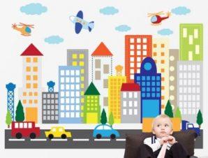 Ελικόπτερα πάνω από κτίρια Παιδικά Αυτοκόλλητα τοίχου 65 x 88 cm