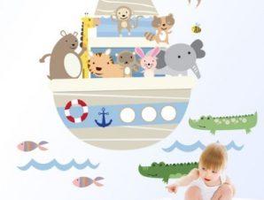 Ζώα σε καράβι Παιδικά Αυτοκόλλητα τοίχου 72 x 81 cm