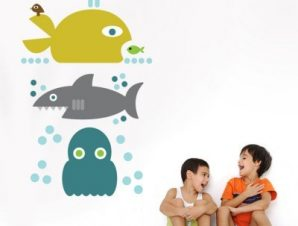 Μεγάλα ψάρια Παιδικά Αυτοκόλλητα τοίχου 82 x 50 cm