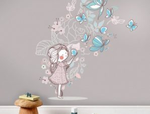 Butterfly Girl Παιδικά Αυτοκόλλητα τοίχου 109 x 100 cm
