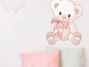 Αρκουδάκι με φιόγκο Παιδικά Αυτοκόλλητα τοίχου 50 x 40 cm