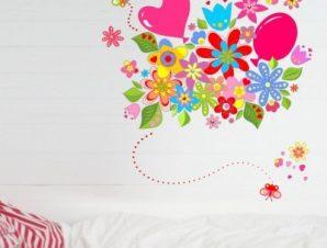 Πολύχρωμα λουλούδια με μπαλόνια Παιδικά Αυτοκόλλητα τοίχου 90 x 90 cm