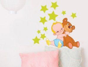 Μπεμπάκι με αστέρια Παιδικά Αυτοκόλλητα τοίχου 50 x 50 cm