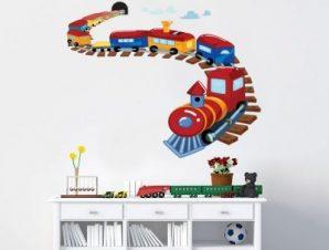 Τραινάκι πολύχρωμο Παιδικά Αυτοκόλλητα τοίχου 48 x 60 cm