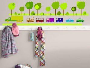 Αυτοκινητάκια με δέντρα Παιδικά Αυτοκόλλητα τοίχου 22 x 80 cm