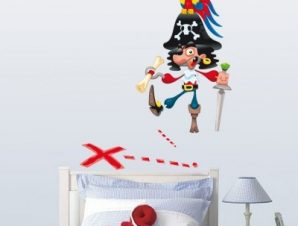 Πειρατής αστείος Παιδικά Αυτοκόλλητα τοίχου 63 x 50 cm