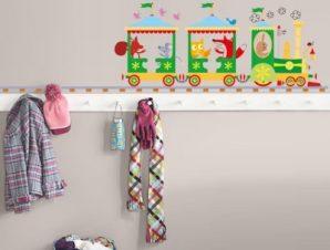 Τραινάκι με σιδηρόδρομο Παιδικά Αυτοκόλλητα τοίχου 27 x 100 cm