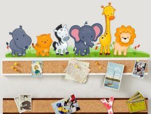 Ζωάκια στο γρασίδι Παιδικά Αυτοκόλλητα τοίχου 30 x 80 cm