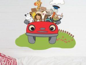 Αυτοκινητάκι με ζώα Παιδικά Αυτοκόλλητα τοίχου 55 x 60 cm