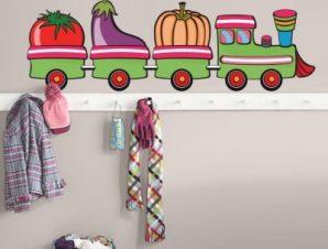 Τραινάκι με λαχανικά Παιδικά Αυτοκόλλητα τοίχου 30 x 90 cm