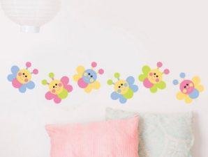 Πεταλούδες πολύχρωμες Παιδικά Αυτοκόλλητα τοίχου 21 x 100 cm