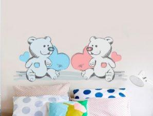 Αρκουδάκια μπλε & ροζ Παιδικά Αυτοκόλλητα τοίχου 28 x 70 cm