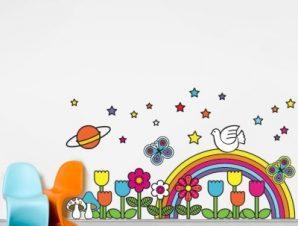 Ουράνιο τόξο στον πλανήτη Παιδικά Αυτοκόλλητα τοίχου 40 x 70 cm
