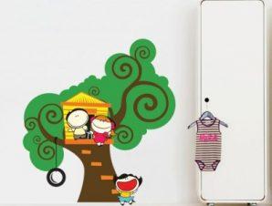 Δεντρόσπιτο Παιδικά Αυτοκόλλητα τοίχου 65 x 60 cm