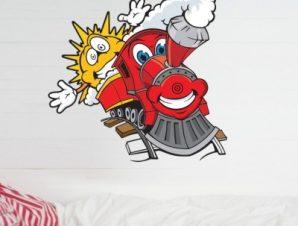 Τραινάκι με ήλιο Παιδικά Αυτοκόλλητα τοίχου 48 x 50 cm