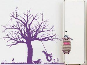 Κούνια σε δέντρο Παιδικά Αυτοκόλλητα τοίχου 84 x 100 cm
