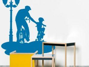 Ποδηλασία πατέρα με παιδί Παιδικά Αυτοκόλλητα τοίχου 63 x 50 cm
