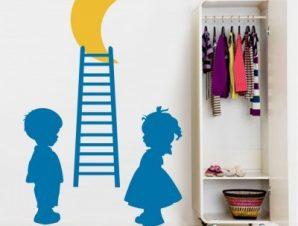 Παιδάκια μπλε σκάλα Παιδικά Αυτοκόλλητα τοίχου 65 x 40 cm