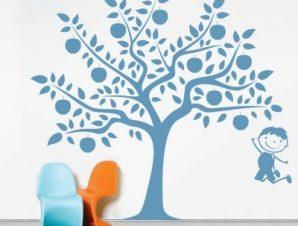 Δεντράκι με παιδάκι Παιδικά Αυτοκόλλητα τοίχου 54 x 58 cm