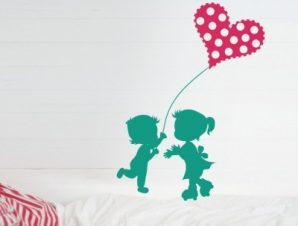 Παιδάκια με πουά καρδιά Παιδικά Αυτοκόλλητα τοίχου 80 x 60 cm
