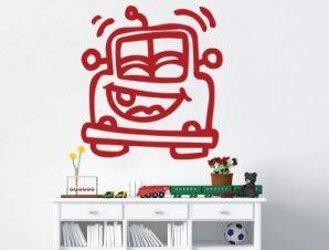 Αυτοκινητάκι χαρούμενο Παιδικά Αυτοκόλλητα τοίχου 43 x 40 cm