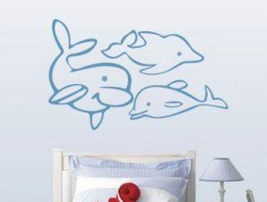 Δελφίνια Παιδικά Αυτοκόλλητα τοίχου 30 x 47 cm