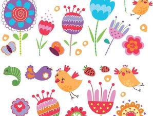 Διακοσμητικά αυτοκόλλητα τζαμιού ή τοίχου Birds and Flowers L