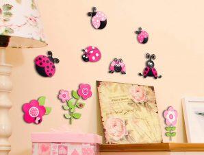 Διακοσμητικά αυτοκόλλητα τοίχου Pink Ladybugs 3D
