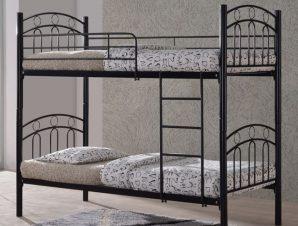 """Kρεβάτι-κουκέτα """"DECKER"""" μεταλλική σε μαύρο χρώμα 98x210x176"""