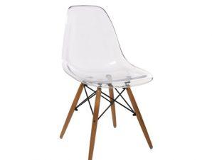 """Καρέκλα παιδική """"ART Wood"""" ξύλινη-pp σε διάφανο χρώμα 46x53x82"""