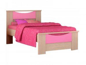 """Παιδικό κρεβάτι """"ΧΑΜΟΓΕΛΟ"""" ημίδιπλο σε χρώμα δρυς-ροζ 110×190"""