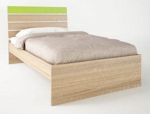 """Παιδικό κρεβάτι """"ΝΟΤΑ"""" ημίδιπλο σε χρώμα δρυς-λαχανί 110×190"""