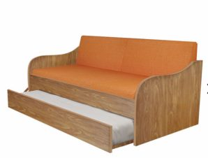 """Κρεβάτι-καναπές """"SILKY"""" με συρόμενο κρεβάτι σε χρώμα ανιγκρέ 80×190"""