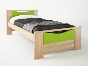 """Παιδικό κρεβάτι """"ΧΑΜΟΓΕΛΟ"""" μονό σε χρώμα δρυς-λαχανί 90×190"""